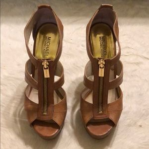 Michael Kors Cognac and Gold Heeled Sandals